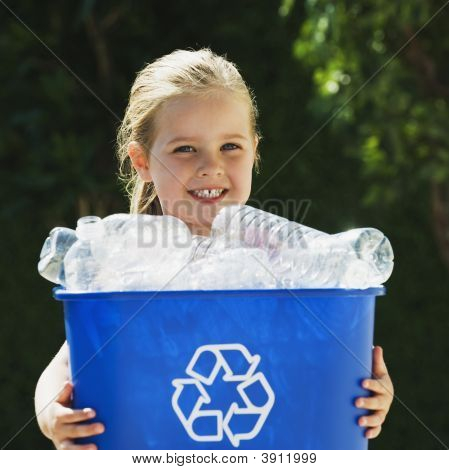 Little blond Girl Holding blue Recycling Bin poster