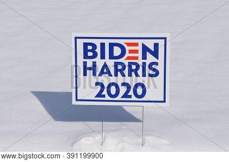 Moorhead, Minnesota, October 21, 2020:  The Biden Harris Sign In The Snow Bank Represents The Democr