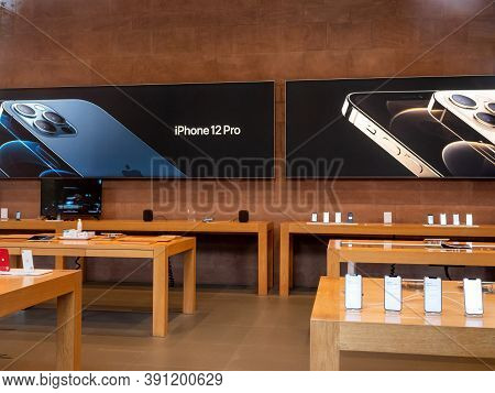 Paris, France - Oct 23, 2020: Advertising For The New Iphone 12 And Iphone 12 Pro On Display During