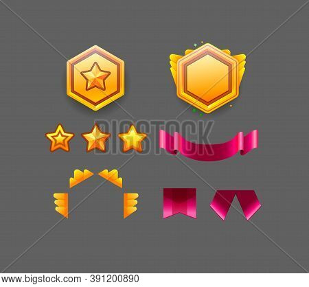 Game Star Vector Constructor. Collection Icon Design For Game, Ui, Banner, Design For App, Interface