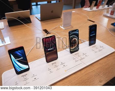Paris, France - Oct 23, 2020: The New Iphone 11, 12 And Iphone 12 Pro On Display During Launch Day I