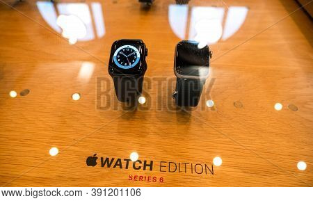 Paris, France - Oct 23, 2020: The New Apple Watch Series 6 Edition Luxury Wearable Device In Apple S