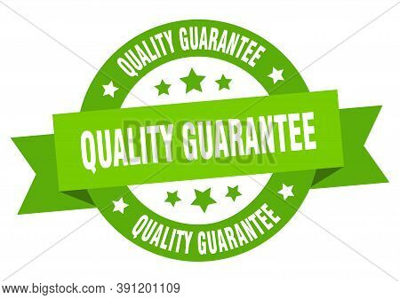 Quality Guarantee Ribbon. Quality Guarantee Round Green Sign. Quality Guarantee