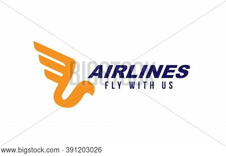 Airline Or Plane Logo Icon Design. Stylized Bird With Wing And Feathers. Concept Of Flying Or Speed.