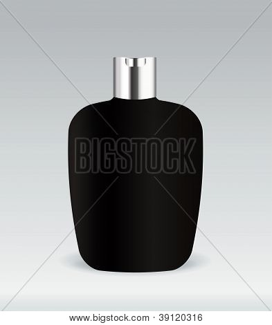 Black cosmetic container bottle