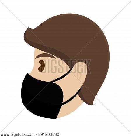 Isolated Man With Mask Coronovirus Protection- Vector