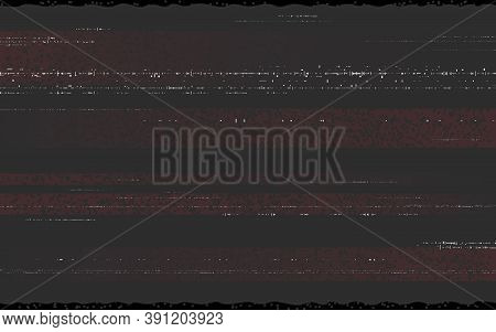 Glitch Vhs Overlay Effect. Analog Video Template With Horizontal Distorted Lines. Retro Tape Concept