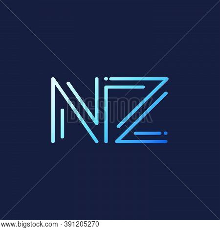 Abstract Techno Line Initial Letter N And Z, Nz Logo Icon Vector Design