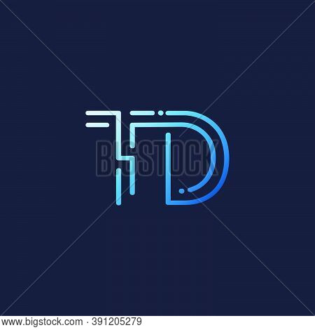 Abstract Techno Line Initial Letter T And D, Td Logo Icon Vector Design
