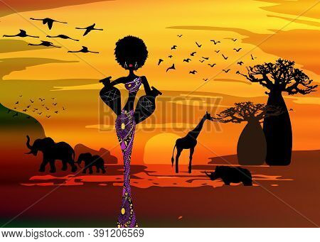 Sunset Landscape Of Forest Baobab Trees, Elephants In The Savannah And African Curly Woman Carrying