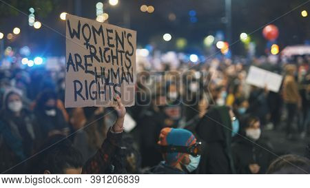 Warsaw, Poland 23.10.2020 - Protest Against Polands Abortion Laws.womens Rights Are Human Rights . H