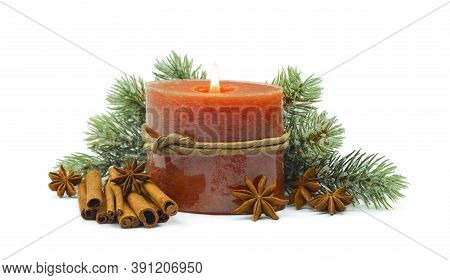 Christmas Composition With Branches Of A Christmas Tree In Hoarfrost And Spices. Cinnamon, Anise, Ca