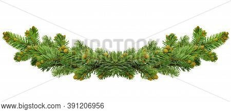 Green Christmas Border Of Pine Branch, Isolated On White Background. Xmas Garland Decoration. Border
