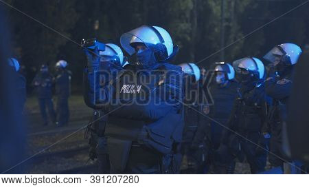 Warsaw, Poland 23.10.2020 - Protest Against Polands Abortion Laws. Police In Full Uniform With Shiel