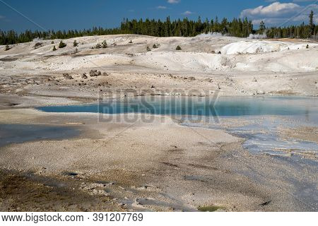 Beautiful Milky Teal Water In A Hot Spring Along The Porcelain Basin Trail, In Yellowstone National