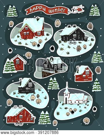 Set Of Snowy Wooden Scandinavian Houses With Grass On The Roof, Christmas Trees And Sheep, Happy Win