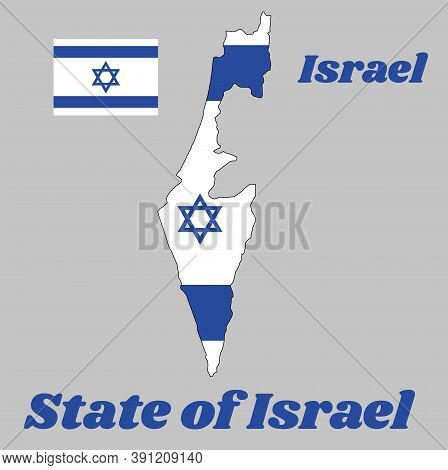 Map Outline And Flag Of Israel, It Depicts A Blue Hexagram On A White Background, Between Two Horizo