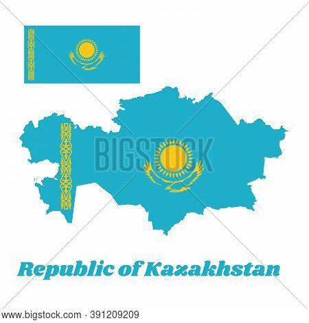 Map Outline And Flag Of Kazakhstan, A Gold Sun Above Eagle On Blue Field. The Hoist Side Displays A