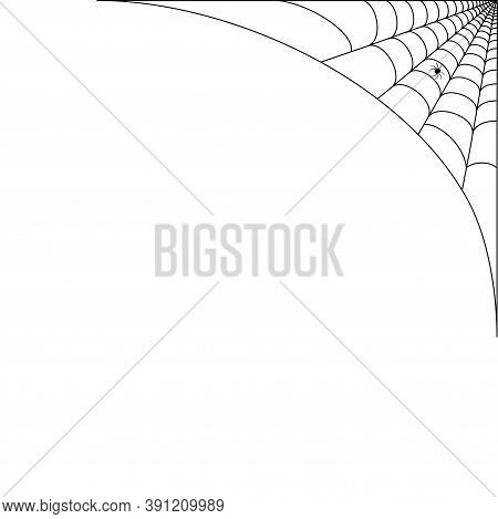 Spider Web Corner Illustration For Template. Halloween Decoration With Realistic Cobweb. Simple Spid