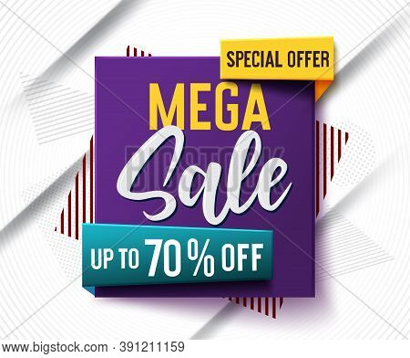 Mega Sale Vector Banner Concept Design. Special Offer Mega Sale Text With 70% Off Discount In Abstra