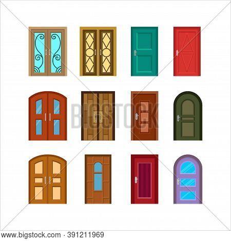 Vector Design Collection Of House And Apartment Doors, Flat Design Door Set
