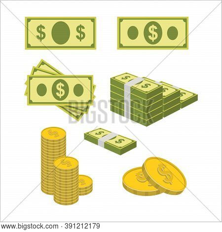 Money. Money Vector. Money Illustration. Money Paper And Coin. Money Icon. Money Sign For Icon Or Lo