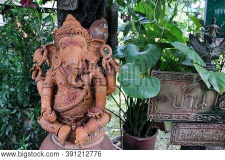 Nonthaburi, Thailand - July 29, 2017 : Earthen Ganesha, Ganesha Made From Baked Clay At Koh Kret Isl