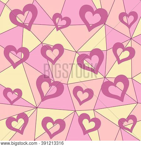 Pink Hollow Hearts On A Colorful Geometric Polygonal Background. Vector Seamless Pattern For Wallpap