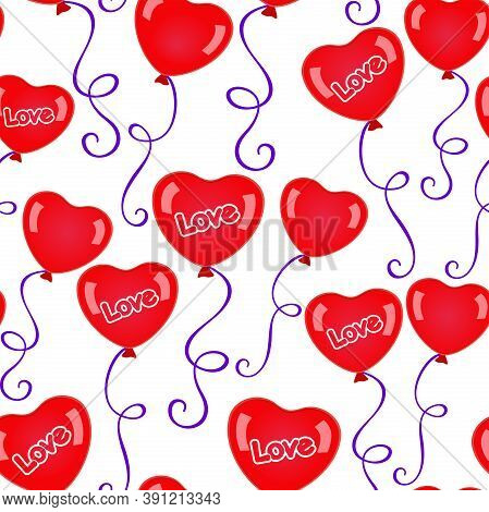 Red Heart-shaped Balloons With Purple Ribbons On A White Background. Vector Seamless Pattern For Wal