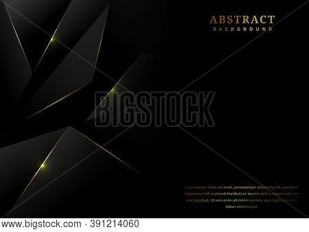 Abstract Black Polygon Pattern With Gold Laser Light Lines On Dark Background Luxury Style With Copy