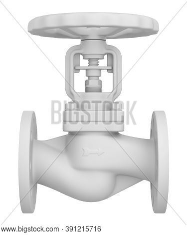 Clay Render Of Industrial Valve Isolated On White Background - 3d Illustration