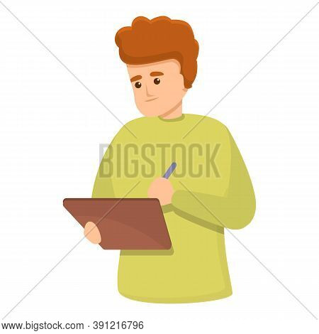 Student With Tablet Icon. Cartoon Of Student With Tablet Vector Icon For Web Design Isolated On Whit