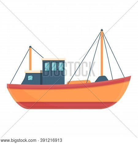 Comfortable Fishing Boat Icon. Cartoon Of Comfortable Fishing Boat Vector Icon For Web Design Isolat