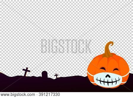 Halloween Medical  Mask,  Pumpkin Wearing  Medical At Night With Covid-19 And Virus  Isolated  On Pn