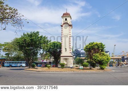 Colombo, Sri Lanka - February 23, 2020: View Of The Khan Clock Tower On A Sunny Day
