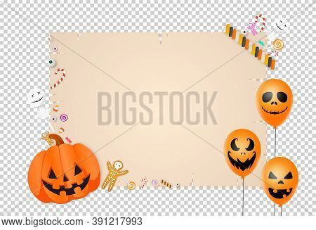 Halloween Party  Background With  Pumpkin Basket ,candies, Sweets, Balloons, Eyes Isolated  On Png O
