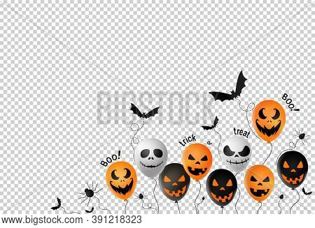 Halloween Party  Banner Background ,scary Balloons, Bat,spider, Spider Web Isolated  On Png Or Trans