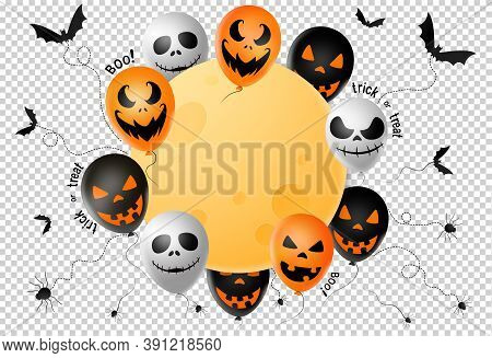 Halloween Party  Banner ,scary Balloons, Bat,spider, Spider Web ,full Moon Isolated  On Png Or Trans