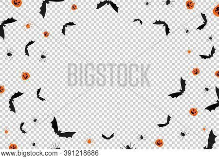 Halloween Background Full Of Bat, Spider, Pumpkin Isolated  On Png Or Transparent  Background, Space