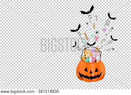 Halloween Party  Background With  Pumpkin Basket  Full Of ,candies, Sweets, Bats, Spiders, Spreading