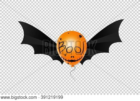 Halloween Party  Background With  Scary Face On Orange Air Balloons, Text  Boo, Bat Wings Isolated