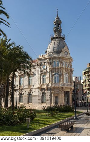 Cartagena, Spain - April 12, 2017: Facade Of The Town Hall Of Cartagena, One Of The Main Modernist B