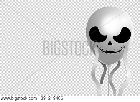 Halloween Party  Banner, Scary Ghost  Face  Air Balloons  Isolated  On Png Or Transparent  Backgroun
