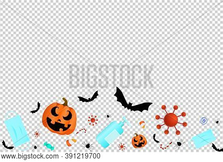 Pumpkin,  Medical Mask, Full Of Candies, Sweets,alcohol Gel,mask On Isolated  On Png Or Transparent