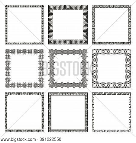 Vector Set Of Square Frames With Geometric Antique Traditional Greek Ornament. A Collection Of Elega