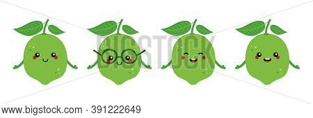 Set, Collection Of Cute Citrus Green Lime Characters For Food Design Isolated On White Background.
