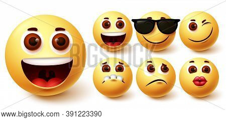 Emojis Happy Vector Set. Emoji Cute Yellow Face In Different Facial Expressions Like Happy, Kiss, Sa