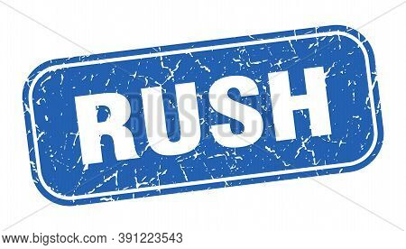Rush Stamp. Rush Square Grungy Blue Sign