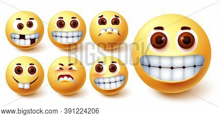Emoji Happy Vector Set. Emojis Funny Teeth Face With Funny, Crazy, Happy, Weird And Blush Mood And F