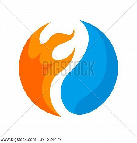 Heating And Cooling Logo. Abstract Heating And Cooling Hvac Logo Design Vector Image